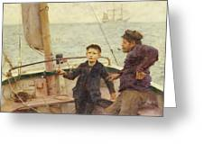 The Steering Lesson Greeting Card by Henry Scott Tuke