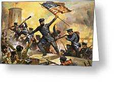 The Storming Of The Fortress At Chapultec Greeting Card by English School