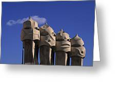The Strangely Shaped Rooftop Chimneys Greeting Card
