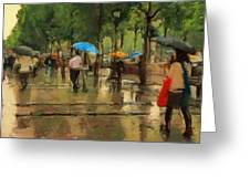 The Streets Of Paris In The Rain Greeting Card
