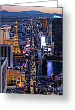 the Strip at night, Las Vegas Greeting Card