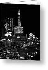 The Strip By Night B-w Greeting Card