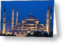 The Sultanahmet Or Blue Mosque At Dusk Greeting Card
