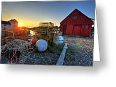 The Sun Rising By Motif 1 In Rockport Ma Bearskin Neck Lobster Traps Greeting Card
