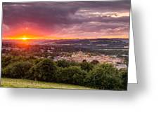The Sun Sets Over Hexham Greeting Card