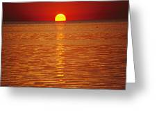 The Sun Sinks Into Pamlico Sound Seen Greeting Card