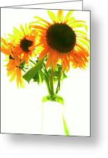 The Sunflowers In A Glass Vase. Greeting Card