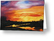The Sun's Last Kiss On The Hill Country Greeting Card