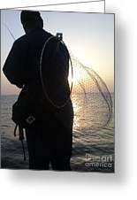 The Sunset Fisherman Greeting Card