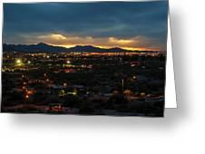 The Sunset From Popago Park Phoenix Arizona Az Golden Greeting Card