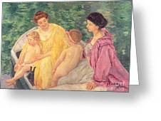 The Swim Or Two Mothers And Their Children On A Boat Greeting Card
