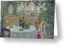 The Table In The Sun In The Garden Greeting Card by Henri Le Sidaner