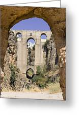 The Tajo De Ronda And Puente Nuevo Bridge Andalucia Spain Europe Greeting Card