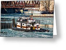 The Tanner On The Icy River Greeting Card