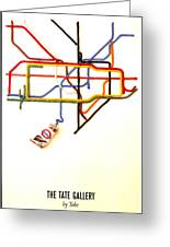 The Tate Gallery - National Galleries And Museums - London Underground - Retro Travel Poster Greeting Card