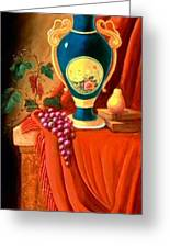 The Teal Vase On A Red Cloth Greeting Card