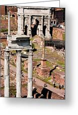 The Temple Of Castor And Pollux At The Forum From The Palatine Greeting Card
