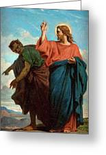The Temptation Of Christ By The Devil Greeting Card