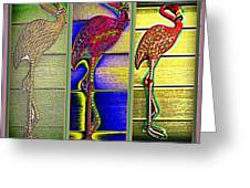 The Three Flamingos Greeting Card