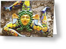 The Three-legged Symbol Of Sicily, Italy - Trinacria  Greeting Card