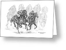 The Thunder Of Hooves - Horse Racing Print Greeting Card