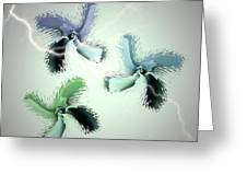 The Thunderbolt Dance Of Rose Butterflies - 4 Greeting Card by Jacqueline Migell