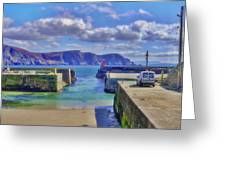 The Tide Is Out In The Harbour Greeting Card