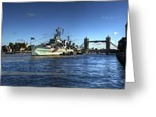 The Tower Hms Belfast And Tower Bridge Greeting Card