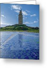 The Tower Of Hercules And The Rose Of The Winds Greeting Card