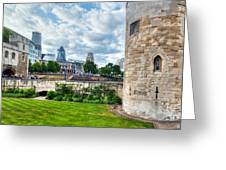 The Tower Of London And The City District With Gherkin Skyscraper, The Uk Greeting Card