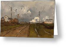 The Train Is Arriving Greeting Card