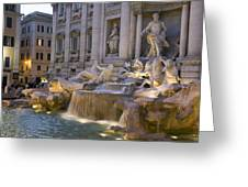 The Trevi Fountain At Dusk Greeting Card by Scott S. Warren