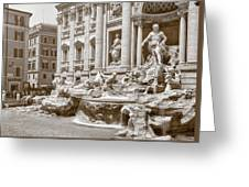 The Trevi Fountain In Sepia Tones Greeting Card