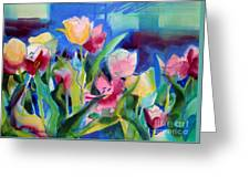 The Tulips Bed Rock Greeting Card