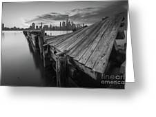 The Twisted Pier Bw Greeting Card