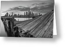 The Twisted Pier Panorama Bw Greeting Card