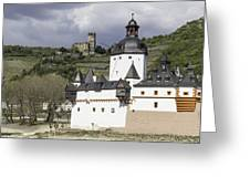 The Two Castles Of Kaub Germany Greeting Card