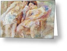 The Two Sleepers Greeting Card by Jules Pascin