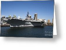 The U S S Midway Docked In San Diego Greeting Card