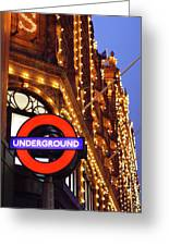 The Underground And Harrods At Night Greeting Card