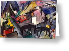The Unfortunate Land Of Tyrol Franz Marc Painting Of Horses In A Valley Near A Cemetery  Greeting Card