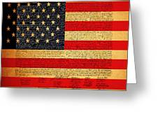 The United States Declaration Of Independence - American Flag - Square Greeting Card by Wingsdomain Art and Photography
