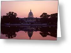 The U.s. Capitol Building Reflected Greeting Card by Kenneth Garrett