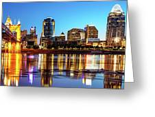 The Vibrance Of The Queen City - Cincinnati Skyline Greeting Card by Gregory Ballos