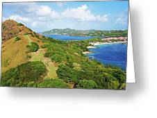 The View From Fort Rodney On Pigeon Island Gros Islet Blue Water Greeting Card