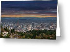 The View From Pittock Mansion Viewpoint Greeting Card