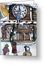 The Village Clock Greeting Card by Mindy Newman