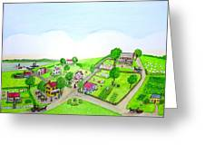 The Village - Colonial Style Art Greeting Card