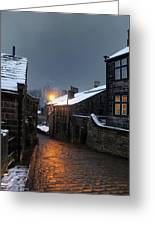 The Village Of Heptonstall In The Snow At Night With Lamps Shini Greeting Card