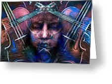 The Violinist Dual Tone   Greeting Card